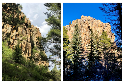 Castle Rock, located in the southwest region of the park, towers above the Historic Gilpin Tramway and Quartz Valley trails.