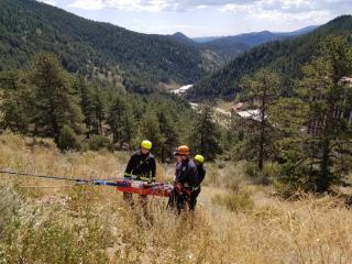 Rescue training on mountainside