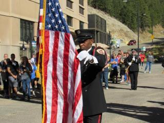 Honor guard posting colors